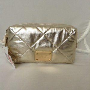 MICHAEL KORS Quilted Metallic Cosmetic Case Gold